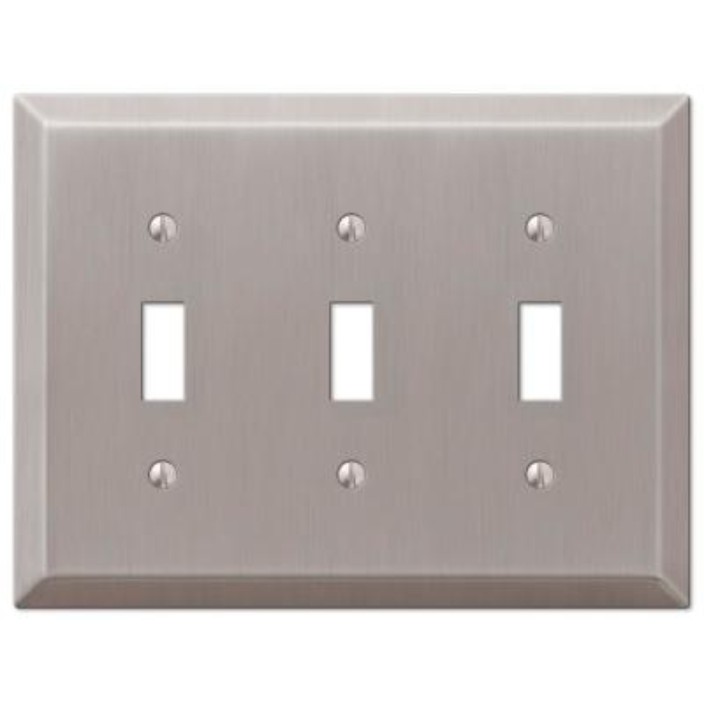 Metallic 3 Gang Toggle Steel Wall Plate - Brushed Nickel