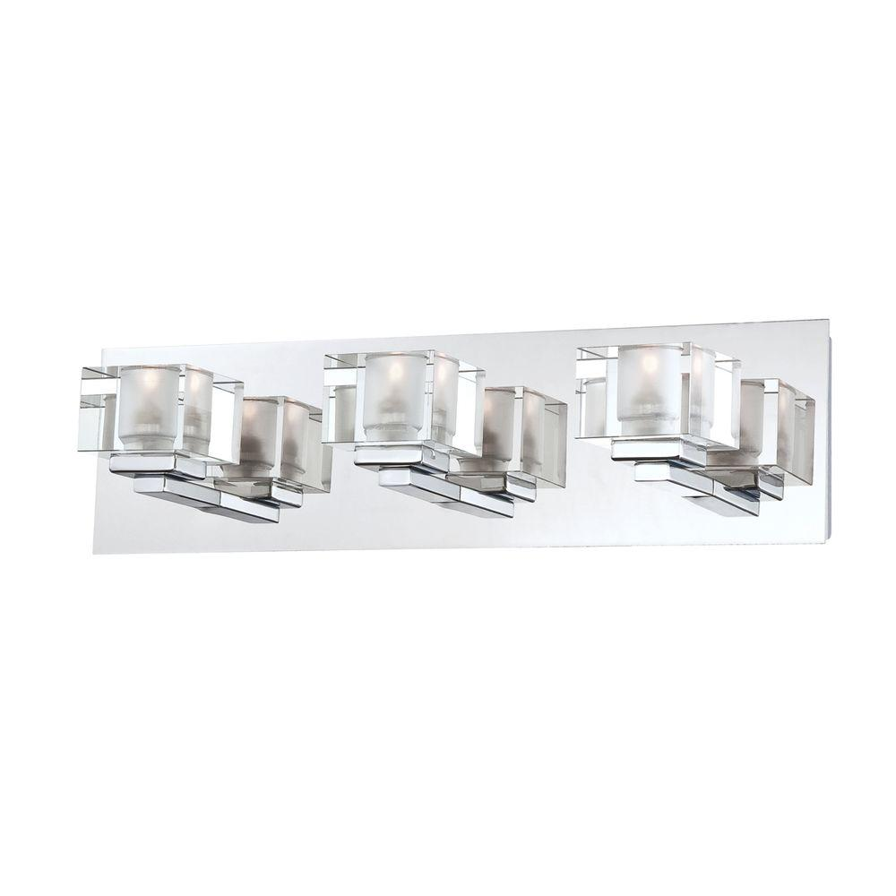 Eurofase Prism Collection 3-Light Chrome Bath Bar Light