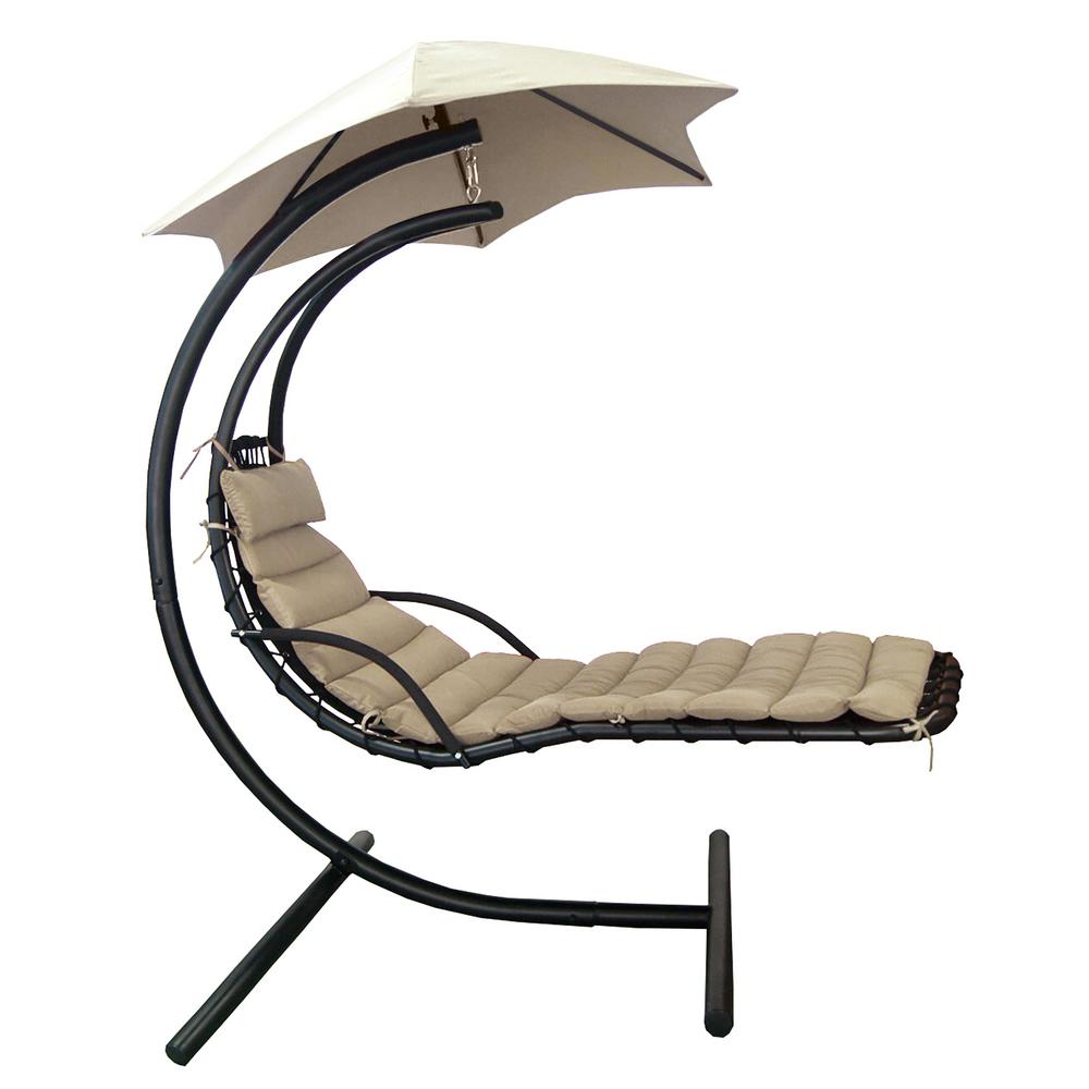 Island Retreat 1-Person Hanging Lounge with Shade Metal Outdoor Patio Swing