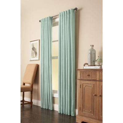 Semi-Opaque Mist Faux Linen Back Tab Curtain - 50 in. W x 95 in. L