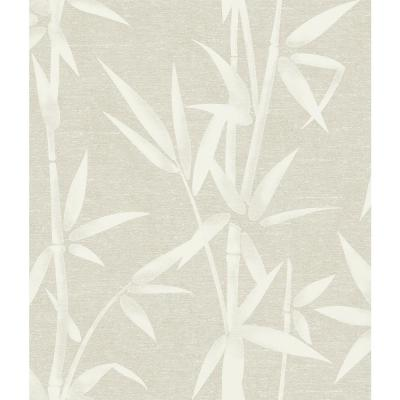 8 in. x 10 in. Catasetum Champagne Bamboo Wallpaper Sample