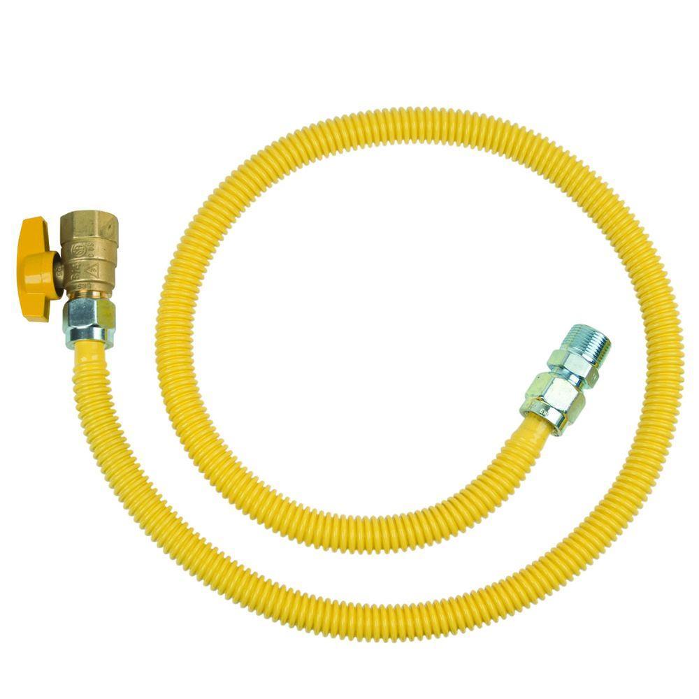 BrassCraft ProCoat 3/4 in. MIP x 3/4 in. FIP Ball Valve x 48 in. Stainless Steel Gas Connector 5/8 in. O.D. (106,000 BTU)