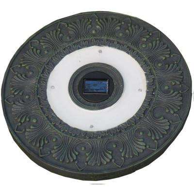 4-Light Solar Green Outdoor LED Round Stepping Stone Light (3-Pack)