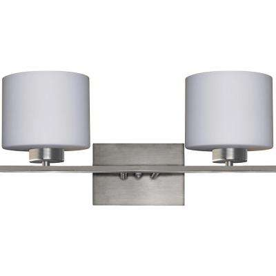 2-Light Satin Steel Bath Light