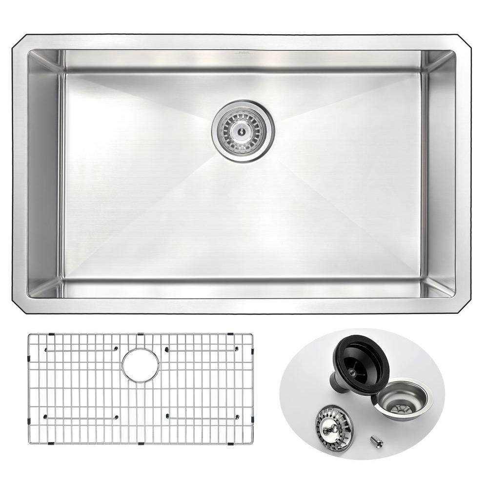 ANZZI VANGUARD Series Undermount Stainless Steel 30 In. 0 Hole Single Bowl Kitchen  Sink