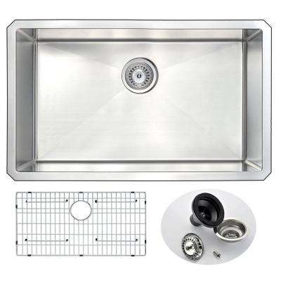 VANGUARD Series Undermount Stainless Steel 30 in. 0-Hole Single Bowl Kitchen Sink