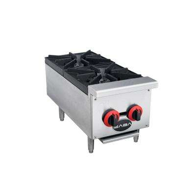 12 in. Commercial Gas Hotplate Cooktop in Stainless Steel with 2 Burners