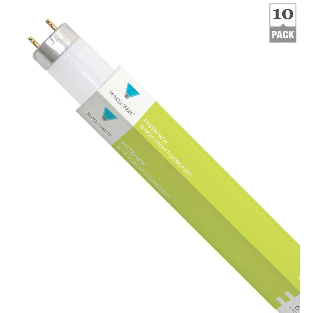 15-Watt 18 in. G13 Mini Bi-Pin Base Linear T8 Fluorescent Light Bulb Warm White (10-Pack)