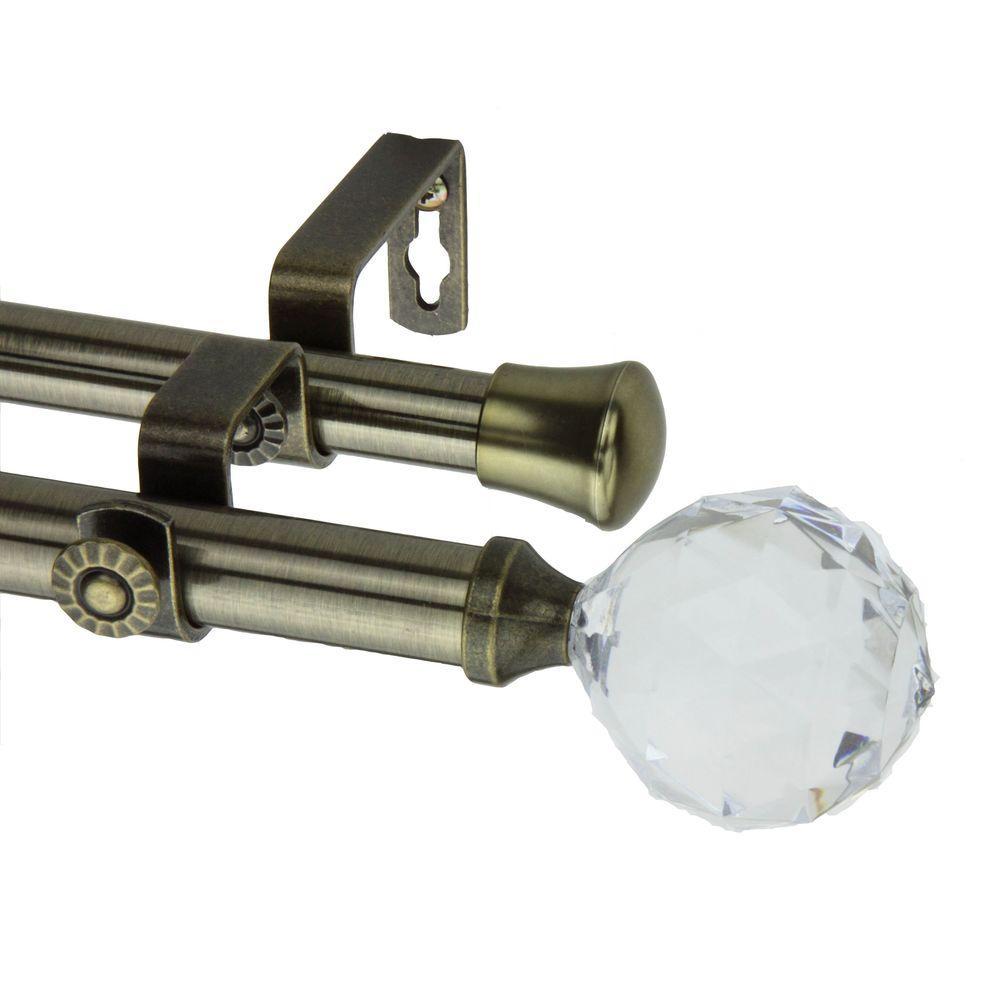 Rod Desyne 48 In.   84 In. Double Telescoping Curtain Rod In Antique Brass