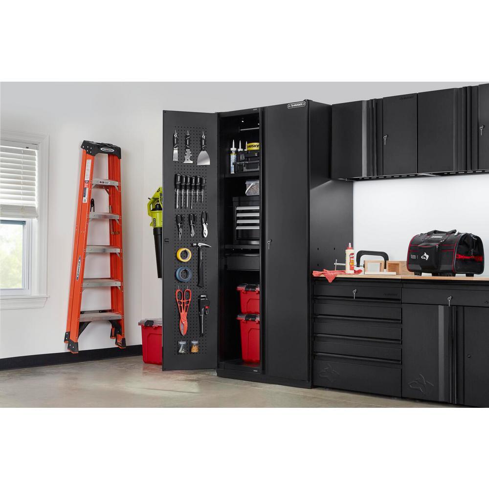 Heavy Duty Welded 36 in. W x 81 in. H x 24 in. D 20-Gauge Free Standing Steel Tall Garage Cabinet in Black