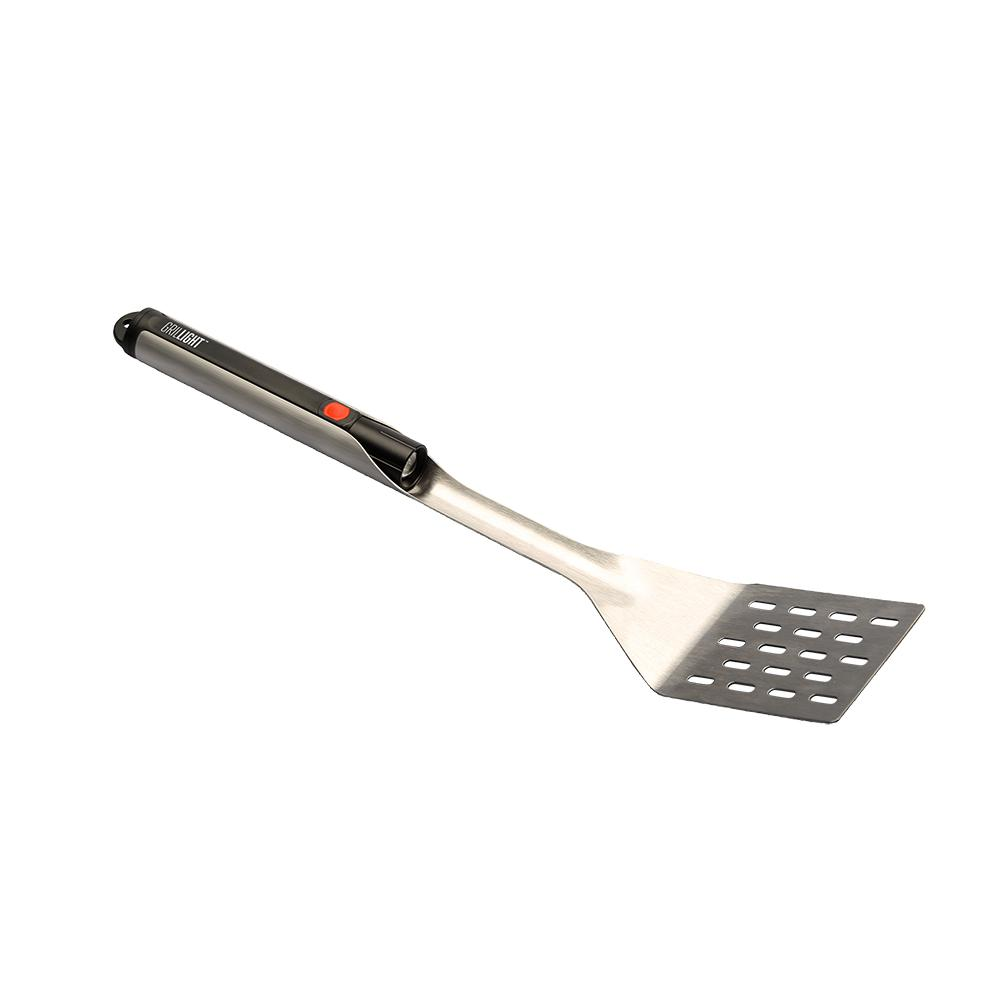 Grill Spatula with LED Flashlight Incorporated into Handle