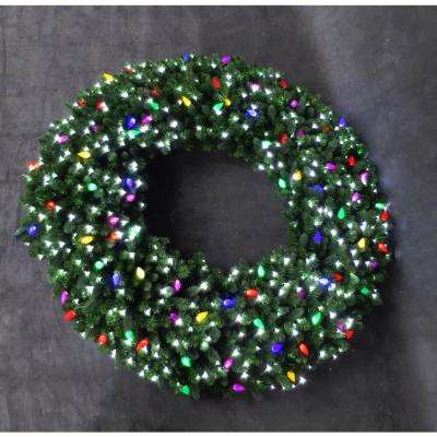 60 in. LED Pre-Lit Artificial Christmas Wreath with Micro-Style Pure White and C9 Multi-Color Lights