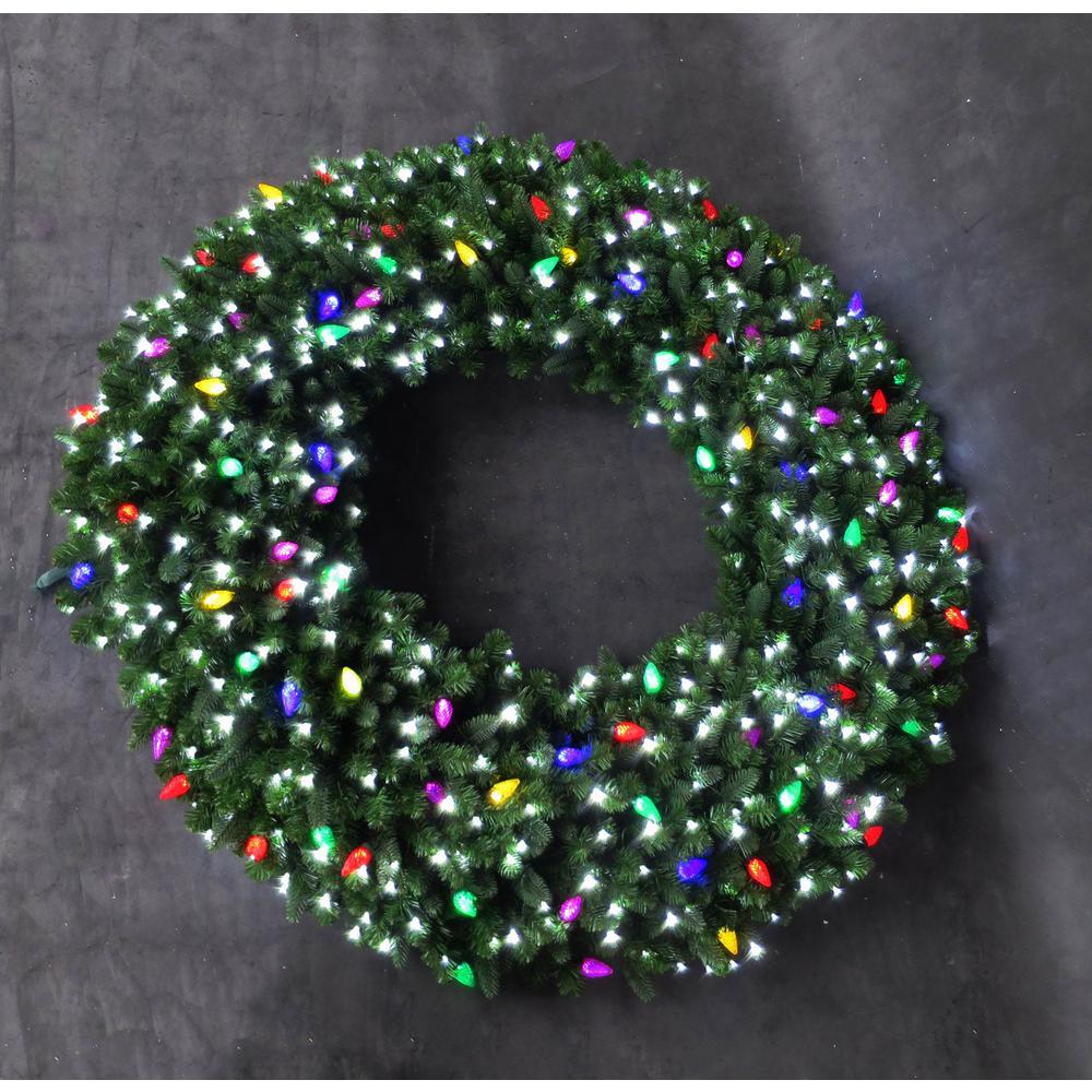 60 in led pre lit artificial christmas wreath with micro