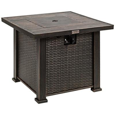 30 in. Bronze 50000 BTU Square Propane Gas Fire Pit Table