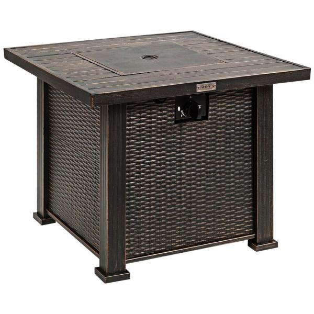 30 in. Bronze 50000 BTU Square Propane Gas Fire Pit Table