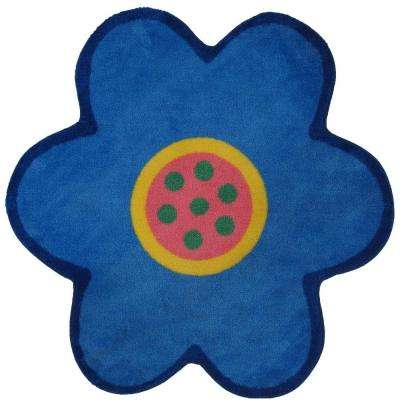 Fun Time Shape Light Blue 39 in. x 39 in. Area Rug