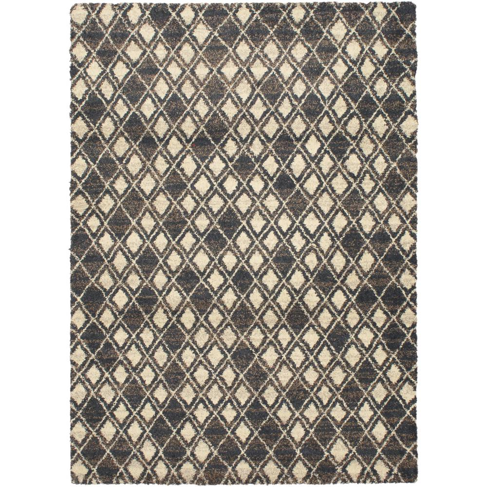 Persian Rugs Wellington: ECarpet Gallery Wellington Black/Cream Shag 5 Ft. 3 In. X