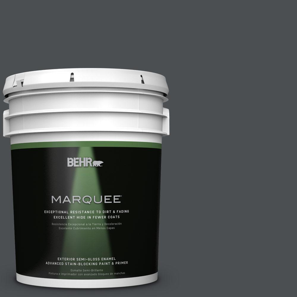 5 gal. #PPU26-01 Satin Black Semi-Gloss Enamel Exterior Paint