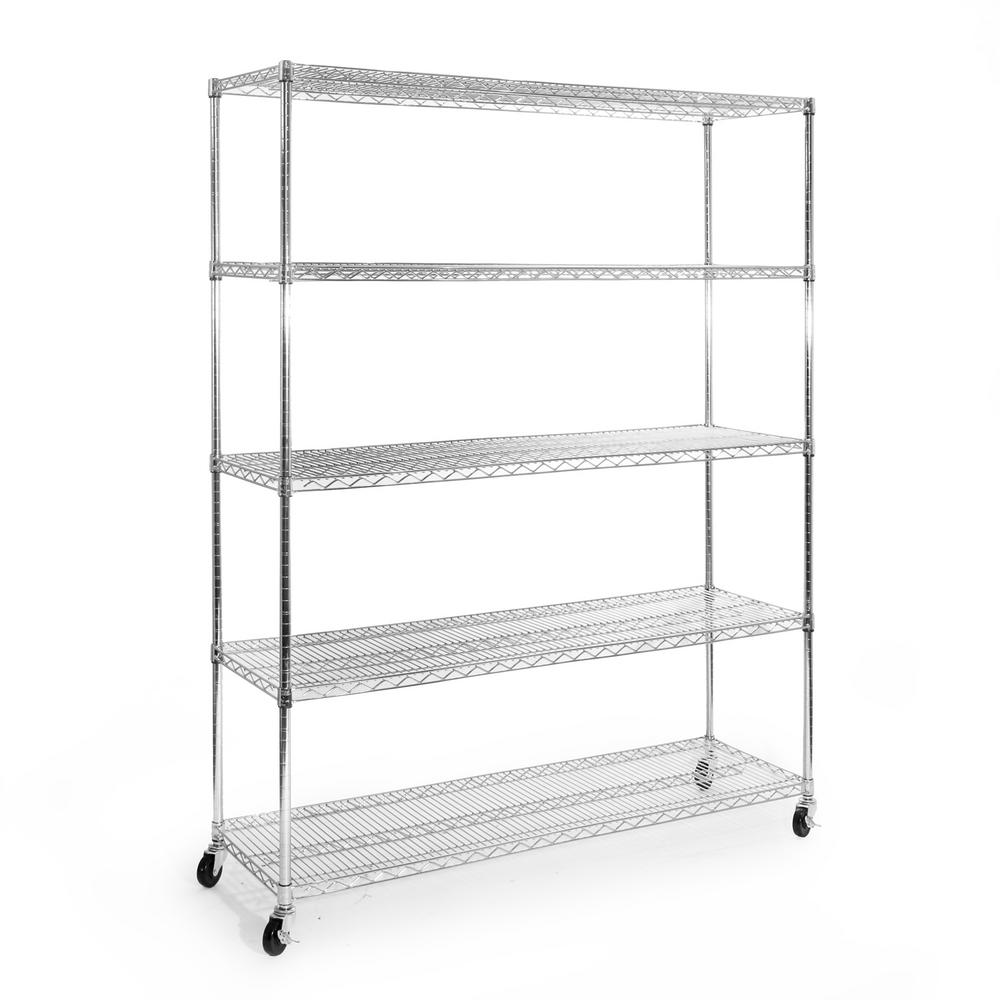 seville classics 72 in h x 60 in w x 18 in d 5 shelf steel wire wheeled shelving unit in. Black Bedroom Furniture Sets. Home Design Ideas
