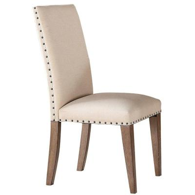 Cream and Brown Fabric Wooden Upholstered Side Chair with Nail Head Trim (Set of 2)
