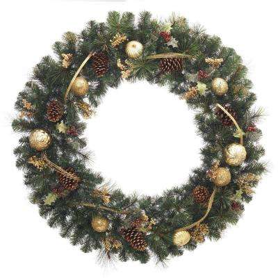 48 in. Unlit Golden Holiday Artificial Wreath