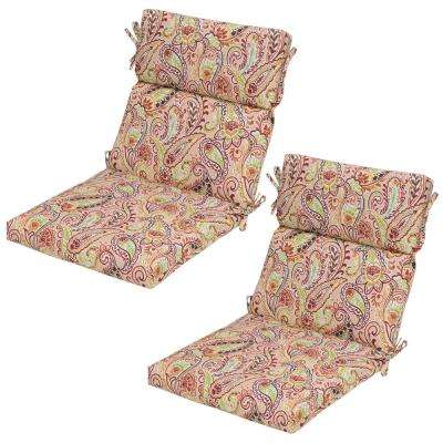 Chili Paisley Outdoor Dining Chair Cushion (2-Pack)