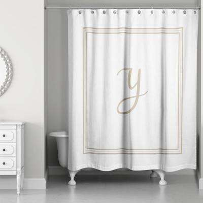71 in. W x 74 in. L Beige and White Letter Y Monogrammed Fabric Shower Curtain