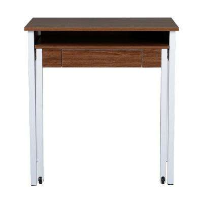 Walnut Retractable Writing Desk with Storage