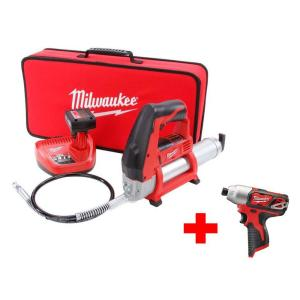 Milwaukee M12 12-Volt Lithium-Ion Cordless Grease Gun XC Kit with Free M12 Impact Driver by Milwaukee
