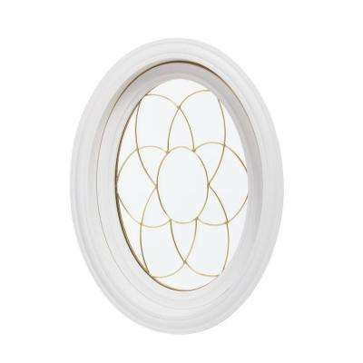 20 in. x 28.5 in. Oval Decorative Picture Vinyl Window - White