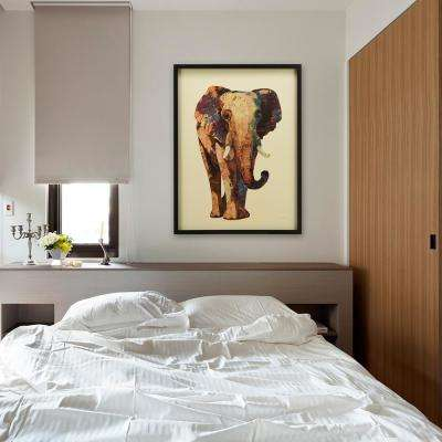"""30 in. x 40 in. """"Elephant"""" Dimensional Collage Framed Graphic Art Under Glass"""