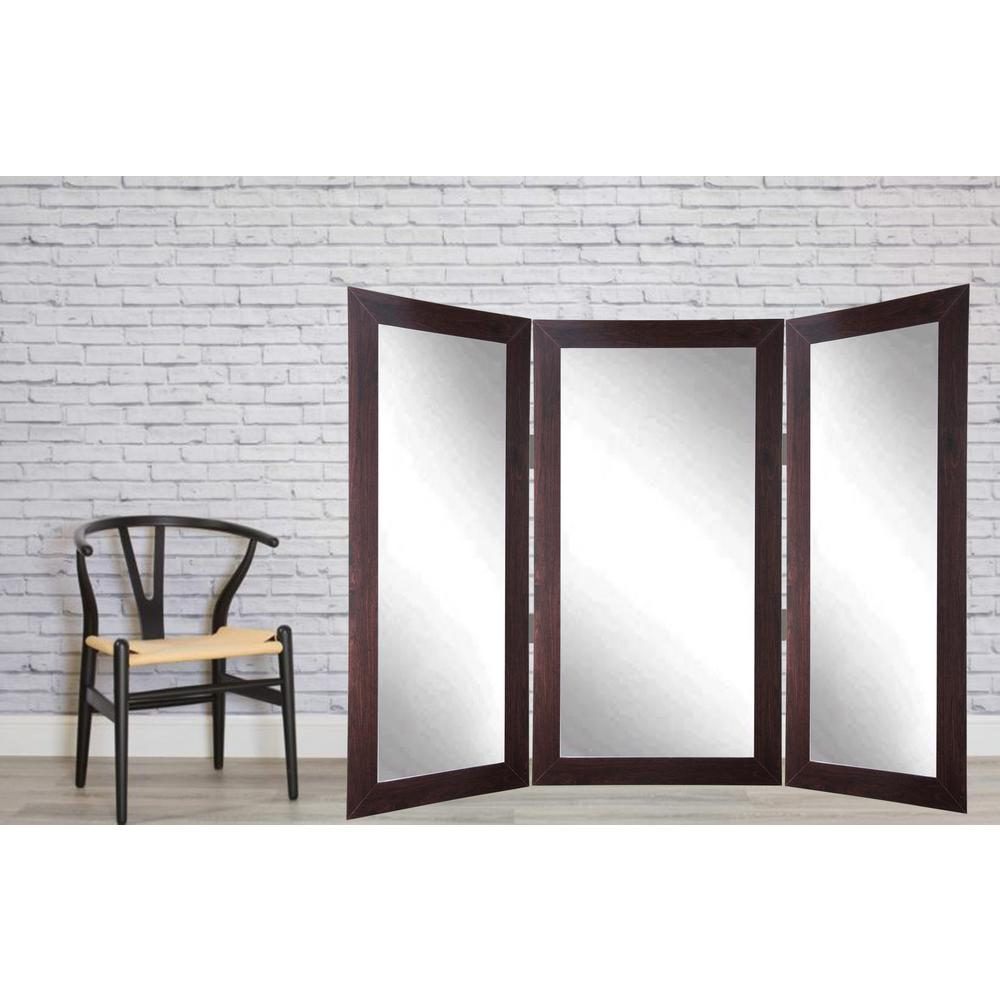 Full Body Dark Walnut Trifold Dressing Mirror