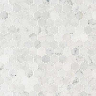 Carrara White Hexagon 11.75 in. x 12 in. x 8mm Honed Marble Mesh-Mounted Mosaic Tile (0.98 sq. ft.)