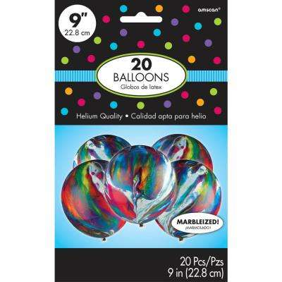 9 in. Multicolored Marble Latex Balloons (20-Count, 6-Pack)