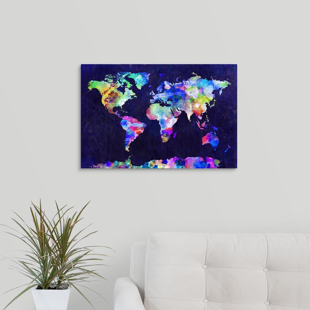 Urban Watercolor World Map.Greatbigcanvas World Map Urban Watercolor By Michael Tompsett