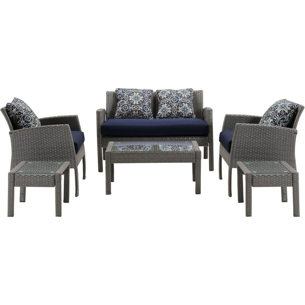 Hanover Chelsea 6 Piece Space Saving Patio Deep Seating Set With Navy Blue Cushions