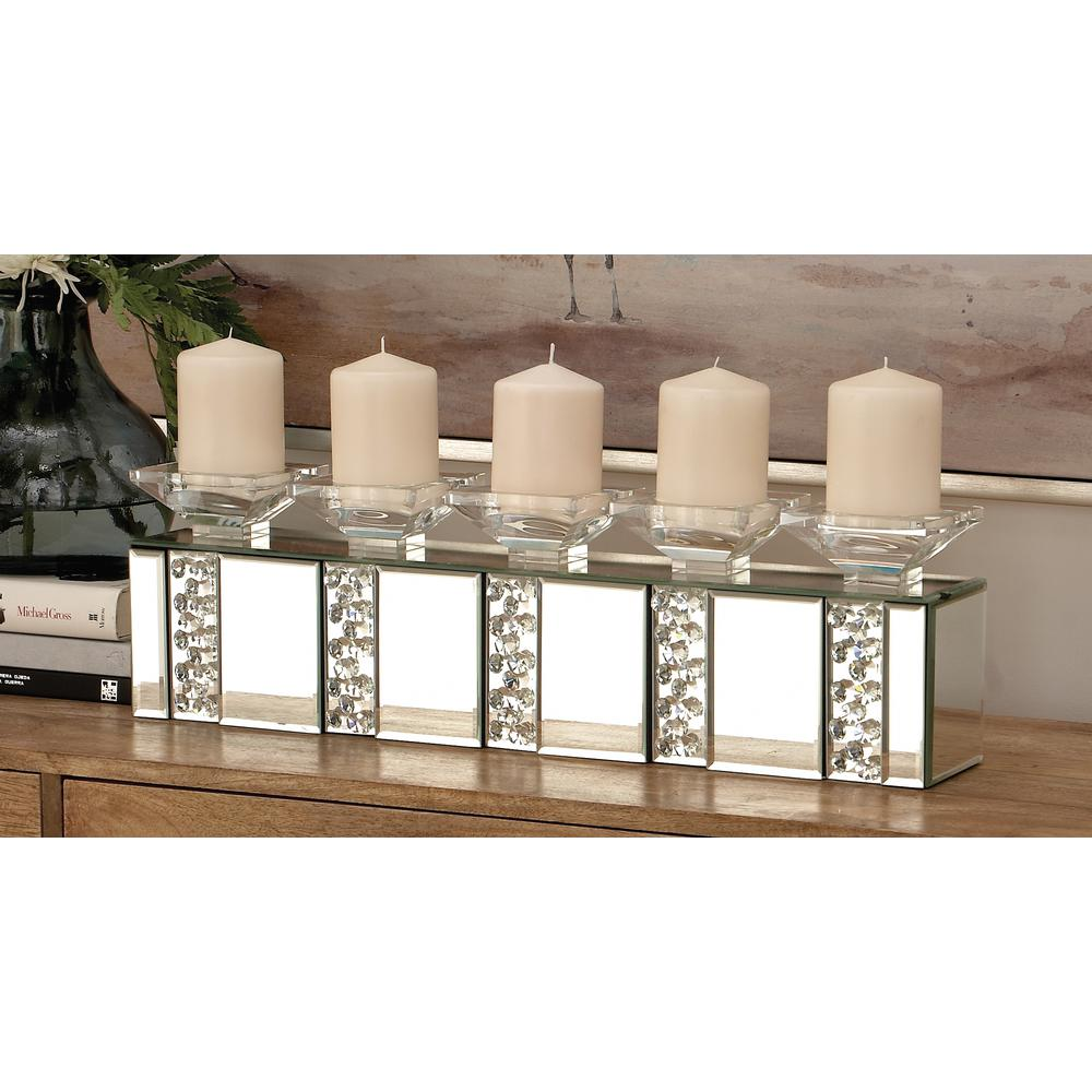 7 In Clear Gl And Mirror 5 Bobeche Rectangular Candle Holder