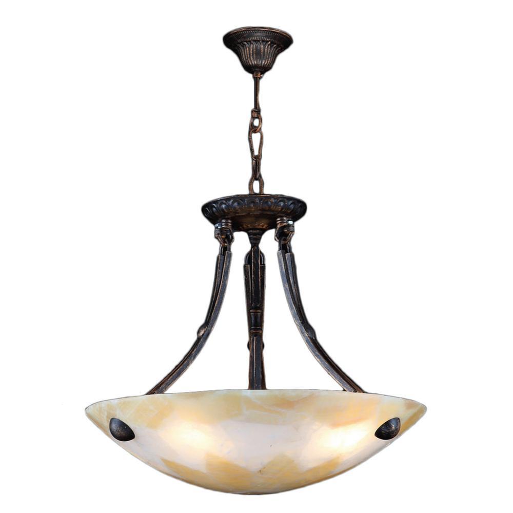 Worldwide Lighting Pompeii 4-Light Flemish Brass Natural