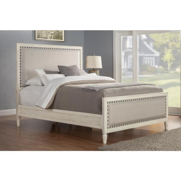 Luxeo Cambridge Solid Wood White King Bed With Upholstered Trim Lux K2501 Wht The Home Depot