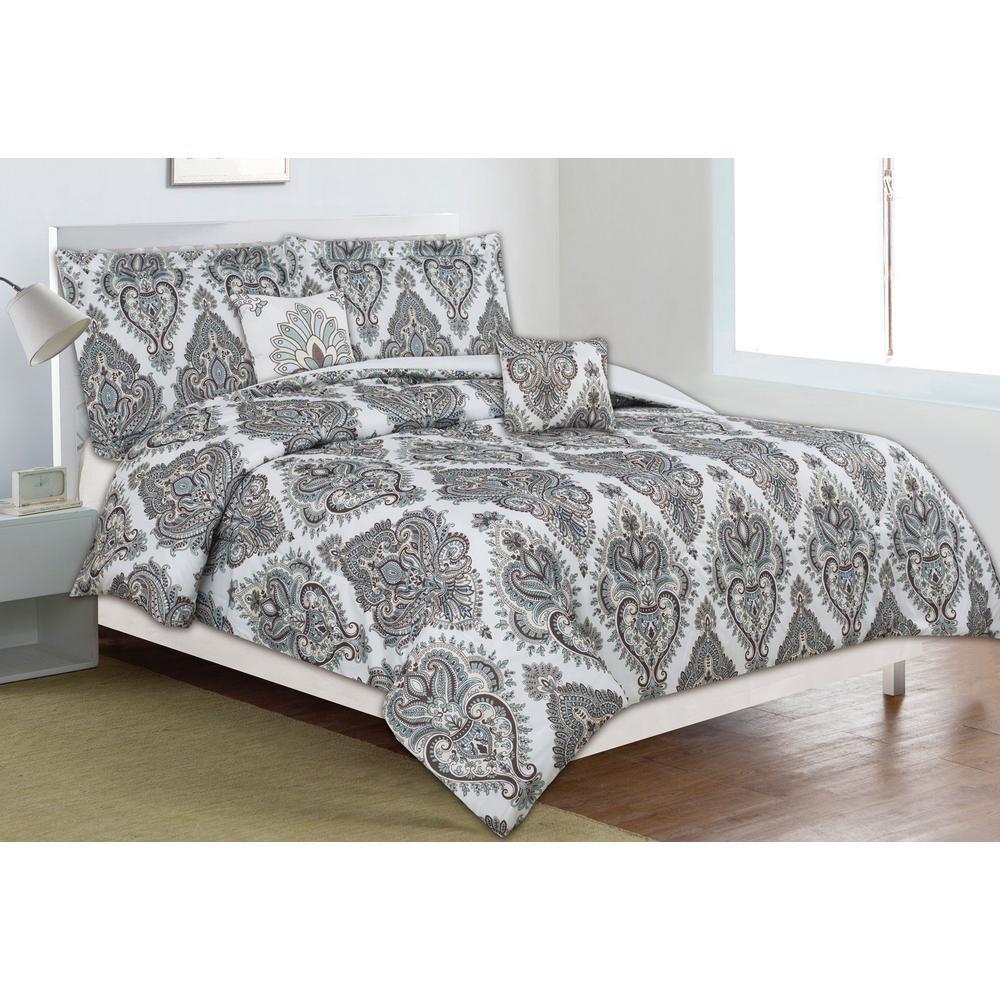 home dynamix classic trends taupeteal 5piece fullqueen comforter set