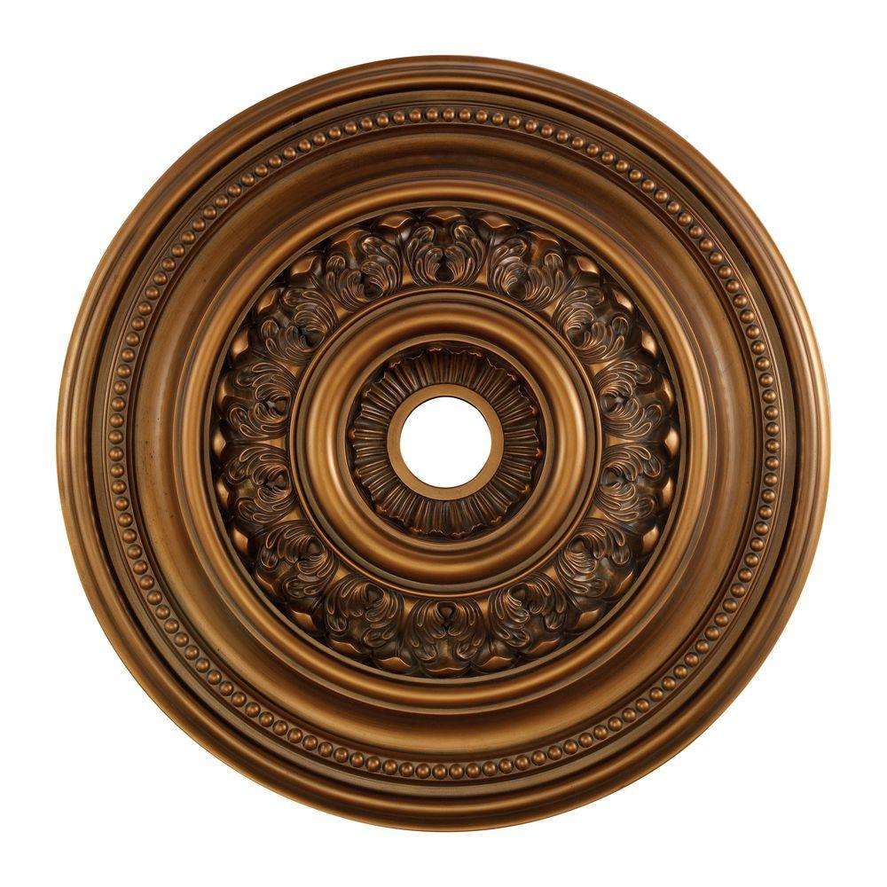 English Study 32 in. Antique Bronze Ceiling Medallion