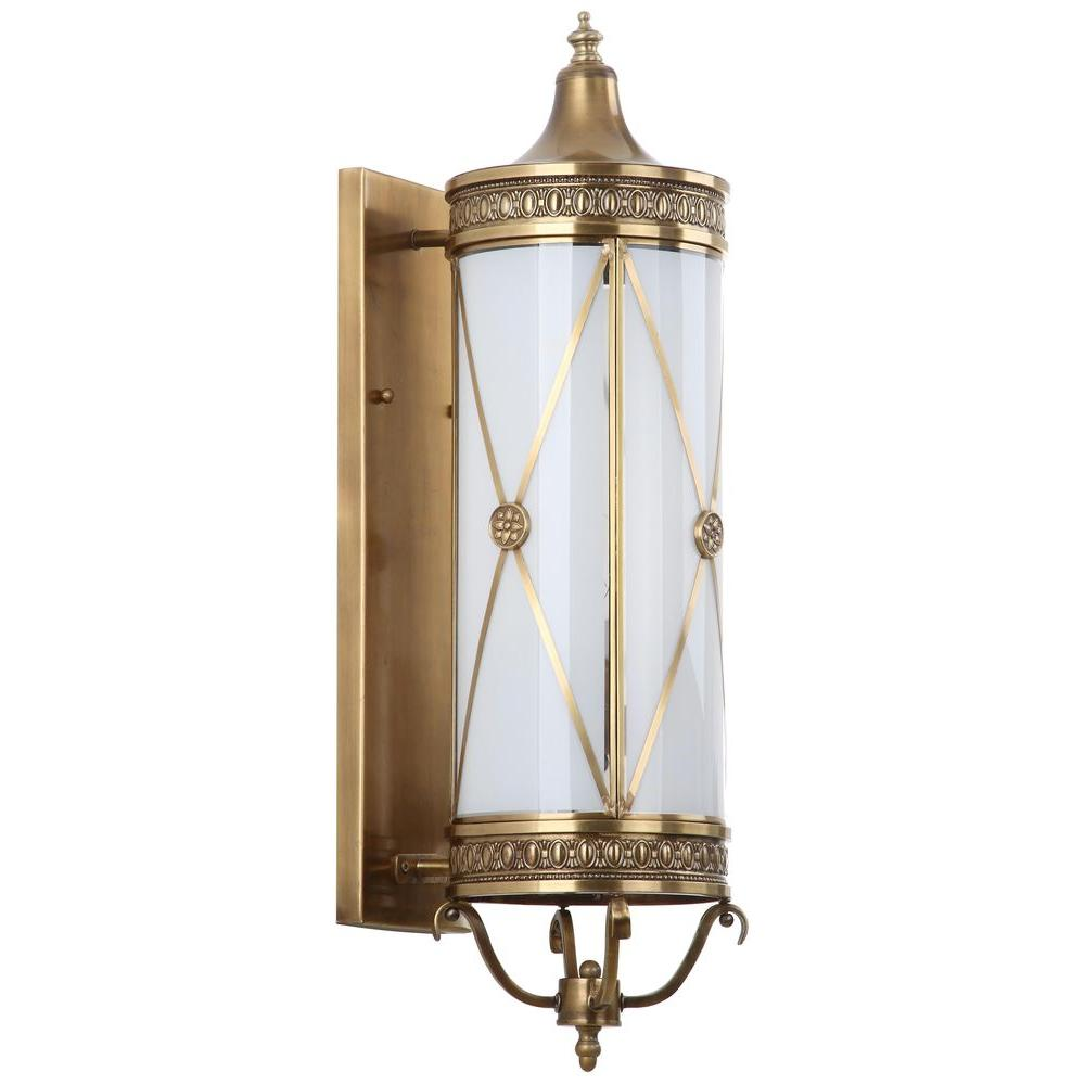 Superbe Safavieh Darby 3 Light Brass Sconce With Off White Shade