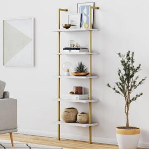 Theo White 5-Shelf Ladder Bookcase or Bookshelf with Gold Metal Frame