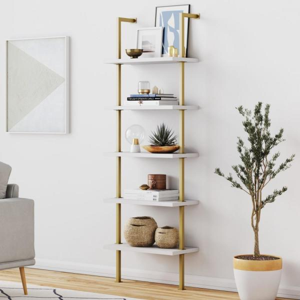Nathan James Theo White 5 Shelf Ladder Bookcase With Gold
