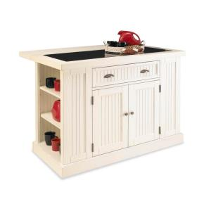 Internet #203245385. Home Styles Nantucket White Kitchen Island With Granite  Top