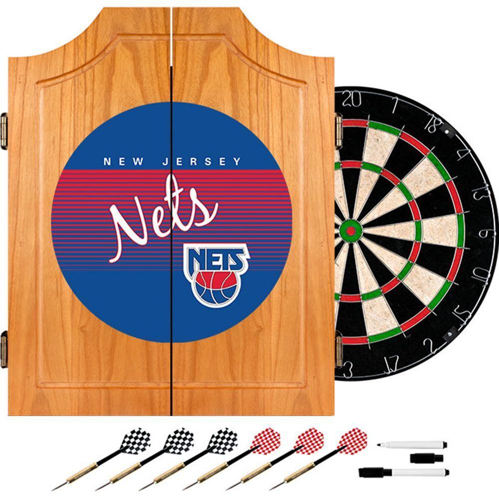 Trademark 20.5 in. New Jersey Nets Hardwood Classics NBA Wood Dart Cabinet Set