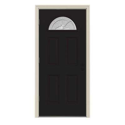 36 in. x 80 in. Fan Lite Langford Black w/ White Interior Steel Prehung Right-Hand Outswing Front Door w/Brickmould