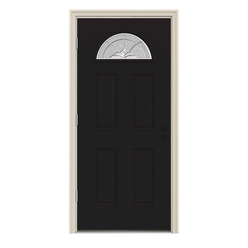 36 in. x 80 in. Fan Lite Langford Black w/ White Interior Steel  sc 1 st  Home Depot & Yes - 4 Panel - JELD-WEN - Exterior Doors - Doors u0026 Windows - The ...