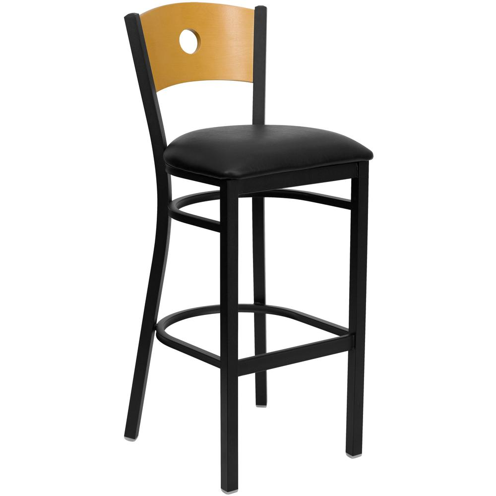 Flash furniture 32 in black and natural cushioned bar stool