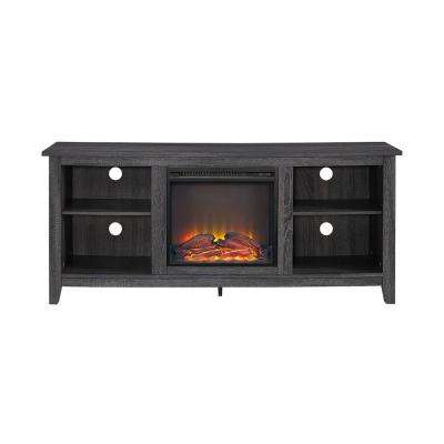 58 in. Charcoal Wood Fireplace TV Stand
